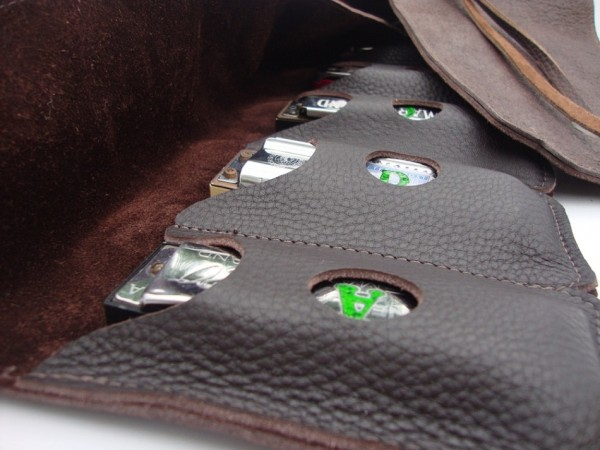 Straight 8 Leather Harmonica Case With Tie Cords Rw