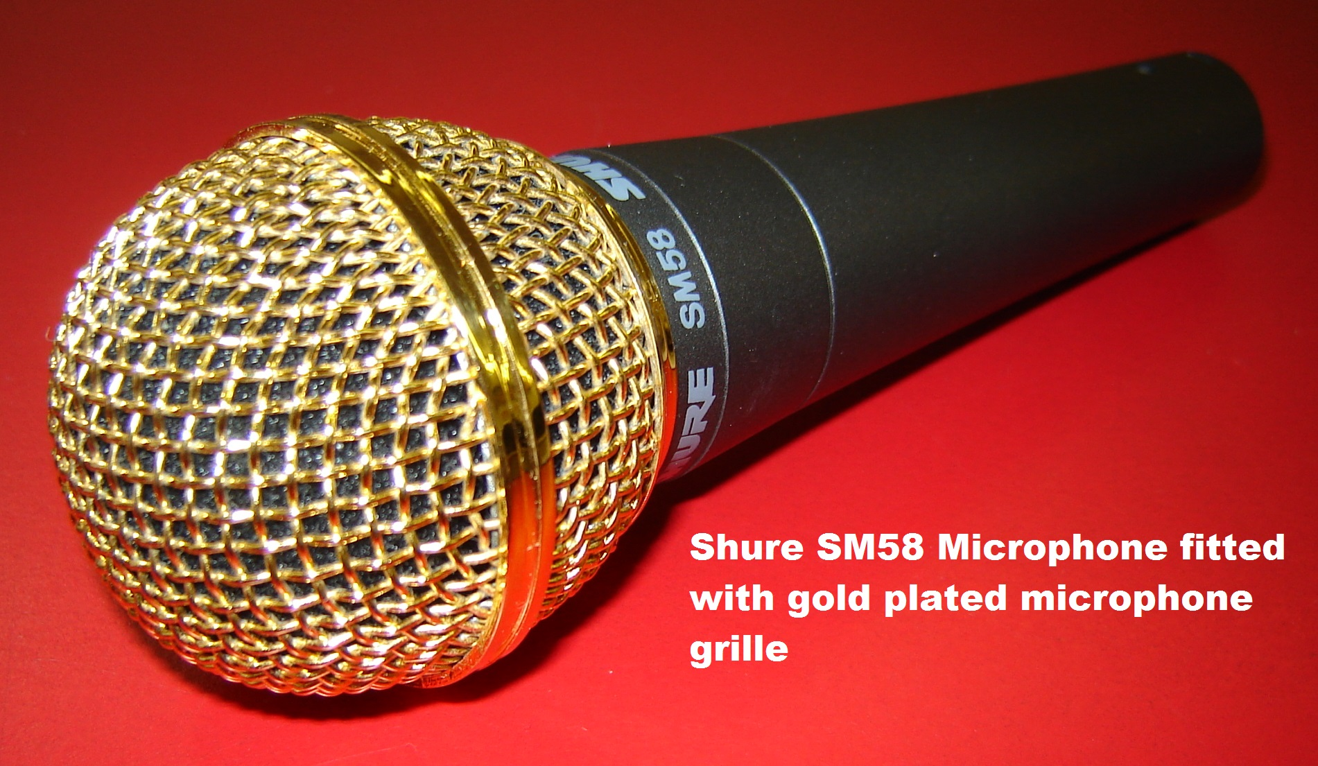 Shure sm microphone with gold plated grille rw harmonicas